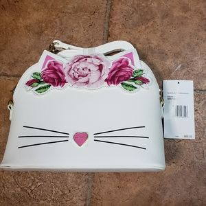 Betsey Johnson Floral Crown Kitty Crossbody Bag